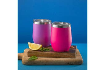 (350ml, Hot Pink) - CHILLOUT LIFE 350ml Stainless Steel Tumbler with Lid & Gift Box - Wine Tumbler Double Wall Vacuum Insulated Travel Tumbler Cup for Coffee, Wine, Cocktails, Ice Cream, Powder Coated Tumbler