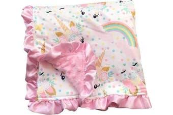 (Pink) - Unicorn Kids Blanket Soft Minky Double Layer Baby Blankie 80cm by 80cm PP300030
