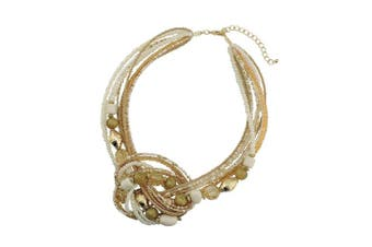 (345-light brown) - Bocar Seed Beads Multilayer Statement Women Strand Collar Necklace