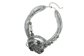 (345-grey) - Bocar Seed Beads Multilayer Statement Women Strand Collar Necklace