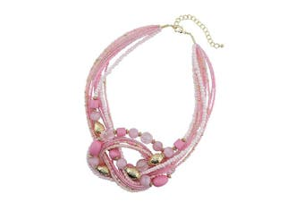 (345-pink) - Bocar Seed Beads Multilayer Statement Women Strand Collar Necklace