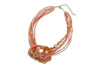 (Orange) - BOCAR Aquamarine Seed Beads Antique Gold Multilayer Statement Collar Necklace