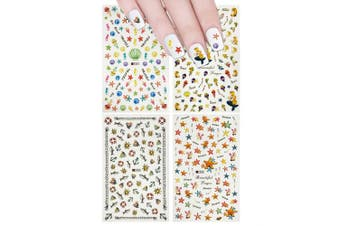 (Under the Sea Mermaid Nail Stickers) - ALLYDREW 4 Sheets Mermaid Nail Art Set - Under the Sea Mermaid Nail Stickers