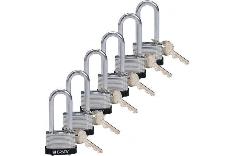 Brady 118972 Black, Key Retaining Steel PadLock - 5.1cm Shackle - Keyed Alike (6 Locks)