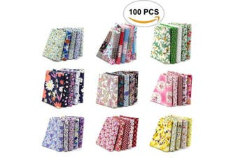 (10cm*10cm) - 100PCS BcPowr 10 x 10cm Different Pattern Fabric Patchwork Craft Cotton DIY Sewing Scrapbooking Quilting Dot Pattern