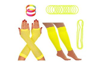 (Yellow) - REDSTAR FANCY DRESS® Neon 1980s Party Outfit - Leg Warmers Fishnet Gloves Necklace Beads Gummies Neon Wristband