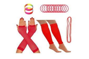 (Red) - REDSTAR FANCY DRESS® Neon 1980s Party Outfit - Leg Warmers Fishnet Gloves Necklace Beads Gummies Neon Wristband