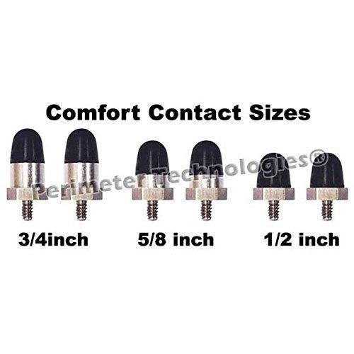 Comfort Contacts 1.9cm Black Comfort Contacts are manufactured in a special process that impregnates the rubber with a conductive material yet retains the comfort of flexible contacts. Veterinarians prefer rubber Comfort Contacts to help avoid serious skin irritation and injuries.