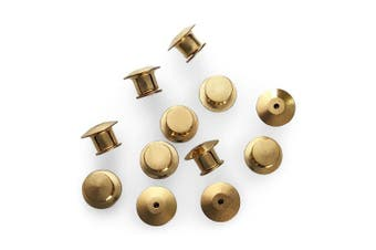 12 Piece Gold Metal Locking Pin Back Keepers Locking Clasps For Lapel Pins - No Tool Required