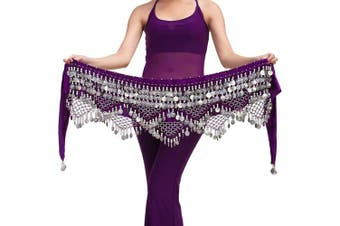 (One size, Purple with silver coins) - Best Dance Women's Zumba Skirt Bellydance Hip Scarf With Coins Skirts Wrap Noisy
