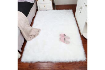 (2*0.9m, White) - Home Decor Rectangle Rugs Faux Fur Sheepskin Area Rug Shaggy Carpet Fluffy Rug for Baby Bedroom,2ftx0.9m,White
