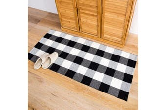 """(23.6"""" by 51.2"""", Plaid-black and White) - Homcomoda Cotton Plaid Chequered Area Rug Hand Braided Kitchen Floor Rug Runner Washable Carpet (23.6"""" by 51.2"""", Plaid-Black and White)"""