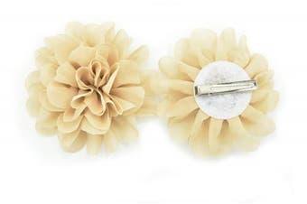 (10cm, Beige) - PrettyBoutique Girls Kids Women Chiffon Flower Hair Clip Alligator Clip Party Wedding (10cm, Beige)
