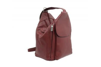 (Red) - Visconti Leather Backpack Style 18357 Red