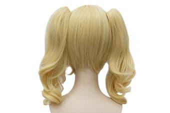 (Blonde) - Ani·Lnc Wigs Medium Length Blond Cosplay Wig+2 Ponytais High Temperature Fibre Synthetic Hair