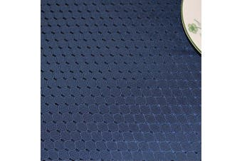 (Round, 180cm , Navy Blue) - ColorBird Elegant Waffle Jacquard Tablecloth Waterproof Table Cover for Kitchen Dinning Tabletop Decor (Round, 180cm , Navy Blue)