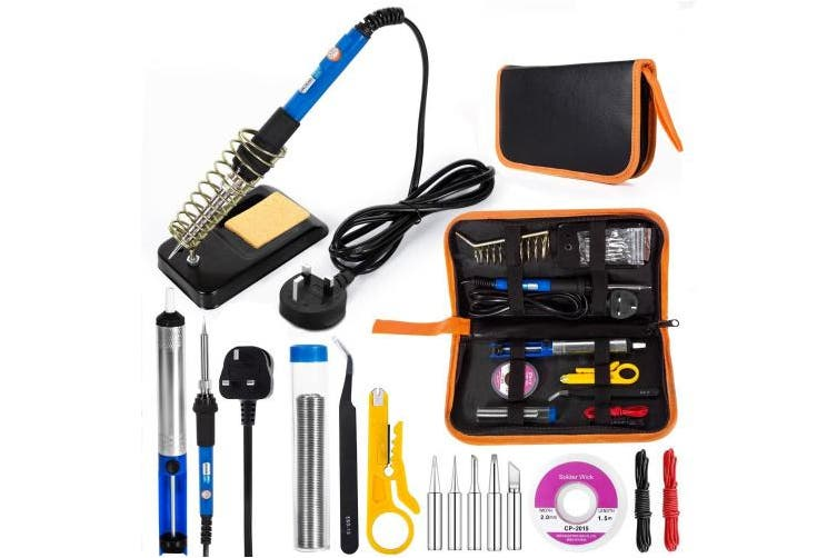 (Orange) - Electric Soldering Iron Kit, EletecPro Welding Tools Temperature Adjustable 60W 220V Soldering Set with 5 Iron Tips Kit, 6 Aid Tools, 2pcs Electronic Wire and Cleaning Sponge in PU Carry Bag