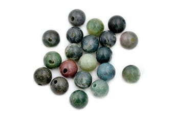 (Indian Agate) - AD Beads Natural Gemstone 10mm Round Loose Beads Big Hole 2mm Sized 20pcs (Indian Agate)