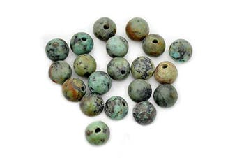 (African Turquoise) - AD Beads Natural Gemstone 10mm Round Loose Beads Big Hole 2mm Sized 20pcs (African Turquoise)