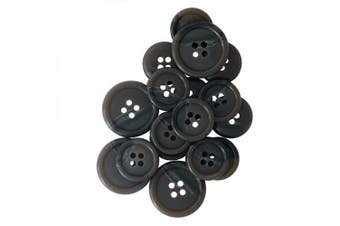 (Suit, Brown) - ButtonMode Faux Buffalo Horn Suit Buttons 16pc Set has 4 Buttons measuring 19mm (3/4 In.) for Jacket Front and 12 Buttons measuring 15mm (5/8 In.) for Jacket Sleeves and Dress Pants, Brown, 16-Buttons