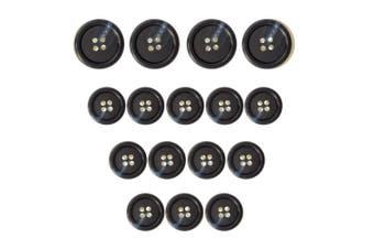 (Suit, Navy Blue) - ButtonMode Faux Buffalo Horn Suit Buttons 16pc Set has 4 Buttons measuring 19mm (3/4 In.) for Jacket Front and 12 Buttons measuring 15mm (5/8 In.) for Jacket Sleeves and Pants, Navy Blue, 16-Buttons