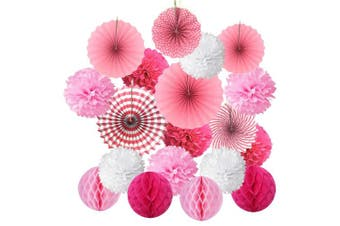 (Pink) - Hanging Paper Fan Set, Cocodeko Tissue Paper Pom Poms Flower Fan and Honeycomb Balls for Birthday Baby Shower Wedding Festival Decorations - Pink