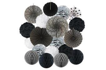 (Black) - Hanging Paper Fan Set, Cocodeko Tissue Paper Pom Poms Flower Fan and Honeycomb Balls for Birthday Baby Shower Wedding Festival Decorations - Black