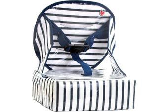 (Blue Stripes) - Baby-to-Love Easy Up, Toddler Booster Seat for Dining Table (Blue)