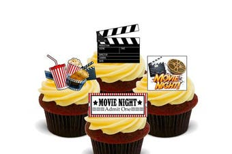 (24) - Movie Night - Edible Cupcake Toppers - Stand-up Wafer Cake Decorations (24)