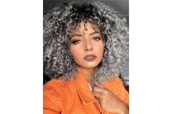 (Ombre Gray) - AISI HAIR Grey Curly Wig for Women Synthetic Mixed ombre Wig with Bangs for Black Women Hair Heat Resistant Shoulder Length Kinky Afro Curly Wig …