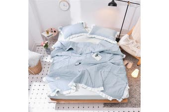 (Full 200cm  X 230cm , Blue-grey) - Abreeze Blue Grey Summer Quilts Washable Cotton Thin Comforter Blanket Girls Ruffled Bedding Set Coverlet (Full 200cm x 230cm )