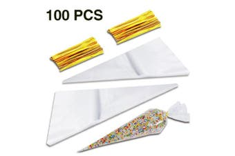 Bornfeel Clear Cone Bags 100pcs with Gold Twist Ties Plastic for Party Candy Chocolate Sweets Crafts Medium 17 x 37cm