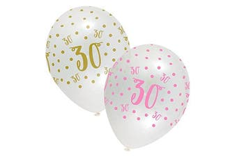 Pink Chic Happy 30th Birthday Latex Balloons