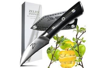 ZELITE INFINITY Bird's Beak Paring Knife 7cm __ Razor-Edge Series __ Japanese AUS8 High Carbon Stainless Steel, Black Pakkawood Handle, Quality Chef Peeling Knives, Ultra-Premium Leather Sheath