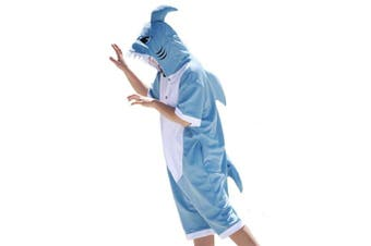 (Small, Summer Blue) - wotogold Animal Shark Pyjamas Unisex Adult Cosplay Costumes