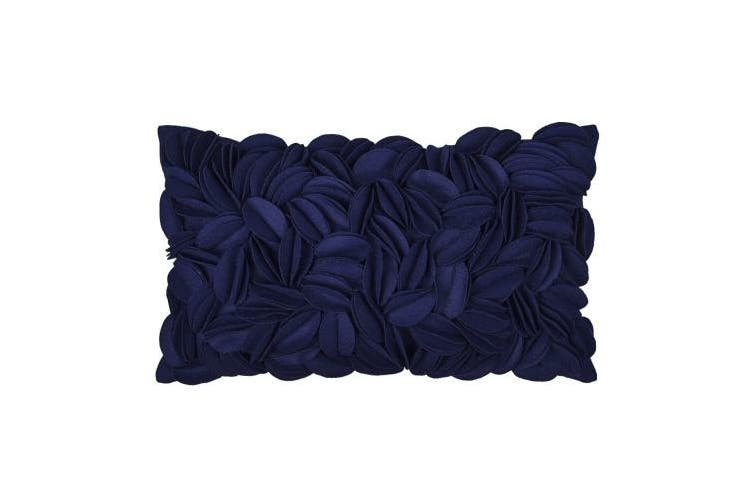 (30cm  x 50cm , Navy Blue) - KingRose King Rose 3D Handmade Floral Decorative Accent Throw Pillow Covers Wool Artwork Cushion Sham for Sofa Couch Chair 30cm x 50cm Navy Blue