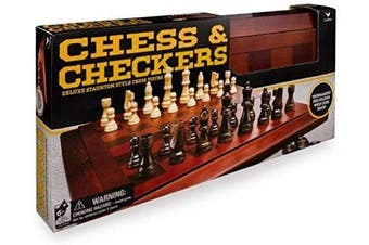Spinmaster SMT6033151 Classic Deluxe Wood Chess & Checkers Black & Gold, Multicoloured