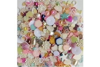- 200pcs 4-20mm Random Mixed Pearl Flat back Cabochons Decoden Rhinestone Loose Beads Gem DP058