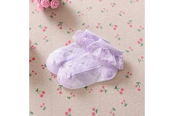 (7-10 Years, Lilac) - Baby Girls Frilly Lace Low Cut Ankle High Cotton Socks Christening Wedding