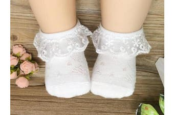 (2-4 Years, Ivory) - Baby Girls Frilly Lace Low Cut Ankle High Cotton Socks Christening Wedding