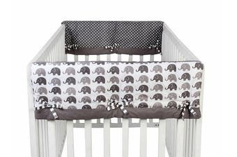 Bacati Elephants Unisex 2 Piece Crib Rail Guard Cover Sides for US Standard Cribs, Grey