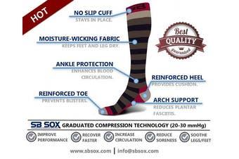 (Medium, Stripes - Gray/Purple) - SB SOX Compression Socks (20-30mmHg) for Men & Women - Best Stockings for Running, Medical, Athletic, Edoema, Diabetic, Varicose Veins, Travel, Pregnancy, Shin Splints