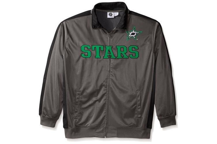 Men's Dallas Stars NHL Big & Tall Top Shelf Green Logo Reflective Performance Full Zip Track Jacket Fleece 3XL
