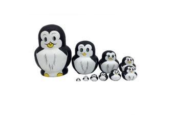 ULTNICE 10Pcs Russian Nesting Dolls Matryoshka Wood Penguins Stacking Toy Doll