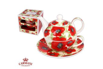 CARMANI - Elegant Tea for one, Set of tea maker decorated with 'red poppy' 350ml