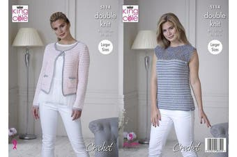 King Cole 5114 Crochet Pattern Womens Jacket and Top in King Cole Finesse Cotton Silk DK
