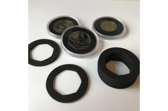 Coin Capsule Inserts x 10 to fit 40mm Capsules, 50p Small (New Style), Black