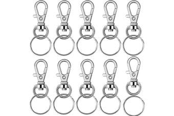 (style4, silver) - BronaGrand 60 Pieces Metal Swivel Lanyard Snap Hook with Key Rings(Small Size)