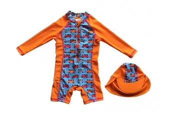 (18-24 months, Orange) - Bonverano TM Infant Boy's UPF 50+ Sun Protection L/S One Piece Zip Sun Suit Free Sun Hat