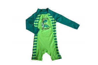 (9-12 months, Green) - Bonverano TM Infant Boy's UPF 50+ Sun Protection L/S One Piece Zip Sun Suit Free Sun Hat